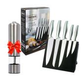 Набор ножей 6пр Европа магнитная подставка +  мельница электрическая кхр серебро в подарок