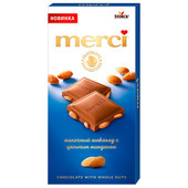 Шоколад Merci 100г молочный с целым миндалем шторк