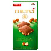 Шоколад Merci 100г молочный с целым лесным орехом шторк