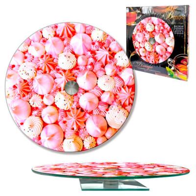 Блюдо сервировочное 28см вращающееся стекло розовый зефир 105-1333
