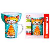 Набор детской посуды 2пр МФК рыжий кот эмоции кружка 200мл+миска 300мл п/у