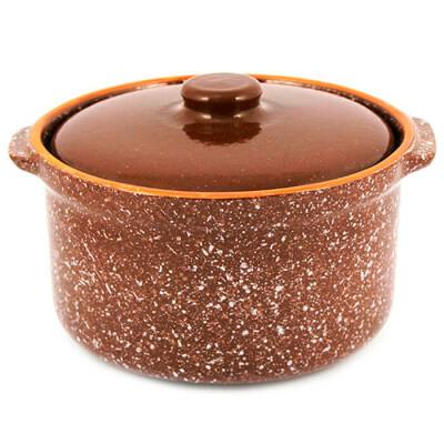 Горшок-сотейник для запекания 1,5л мрамор коричневый 1гс3мк-6