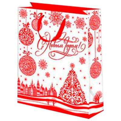 Пакет подарочный фольга 26*32см Микрос белый с красной елкой и шарами ч30800