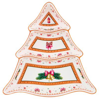 Менажница 3-х секционная 25*25см Lefard рождественская коллекция 586-445
