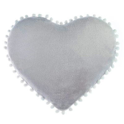 Подушка Этель сердце с бомбошками светло-серый
