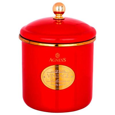 Банка для сыпучих продуктов 1,2л  Agness серия тюдор красная  эмалированная 950-357