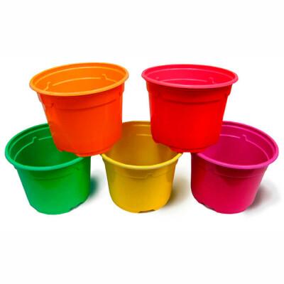 Набор горшков для рассады 5шт 500мл д11 н8,5 мультидача круглый цветной пластик