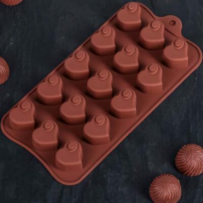 Форма д/льда и шоколада 15 ячеек 21, 5*11*1, 5 м дорого внимание сердцеедка шоколадный 1687510