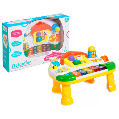 Столик развивающий Elefantino подвижные элементы 3 режима игры пианино/веселые звуки/мелод it106263