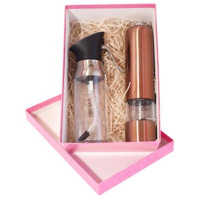 Подарочный набор 2пр мельница д/специй электрическая Европа розовое золото+распылитель европа 2в1