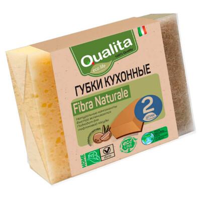Губки для посуды Qualita 2шт Fibra Natural Eco Life
