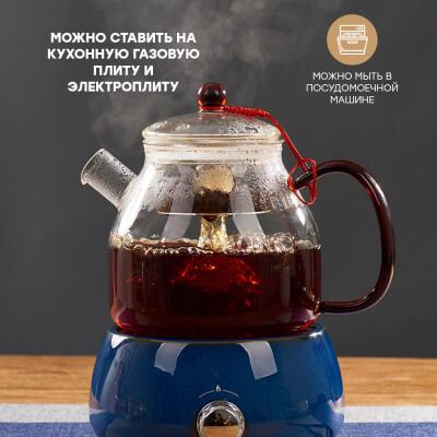 Чайник заварочный Unigood 1 л стеклянный hm-tg13