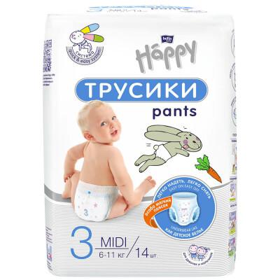 Трусики-подгузники Bella Baby happy 14 шт 6-11кг миди 3