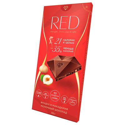 Шоколад RED 100г молочный фундук и макадамия