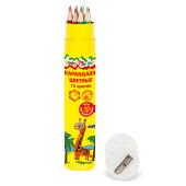 Набор цветных карандашей Каляка-маляка 12цв шестигранные тубус ккм12т