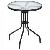 Стол к набору Марсель мини d60см каркас черный столешница прозрачная оплетка wr1208/wr1215