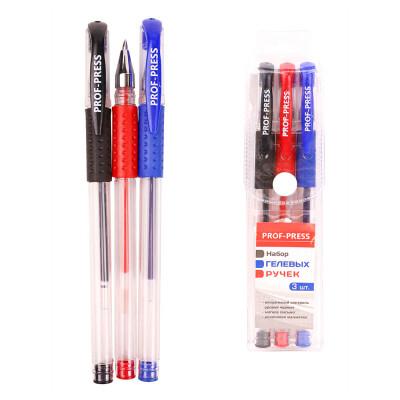 Набор ручек гелевых Проф-Пресс 3шт синий/черный/красный нр-9913