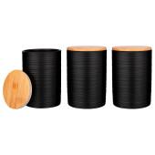 Набор из 3-х емкостей 650мл для сыпучих продуктов 10*10*15см с бамбуковой крышкой 490-428