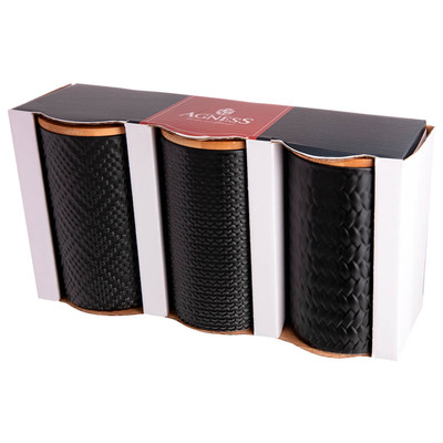 Набор из 3-х емкостей для сыпучих продуктов  10*10*15см с бамбуковой крышкой 490-432