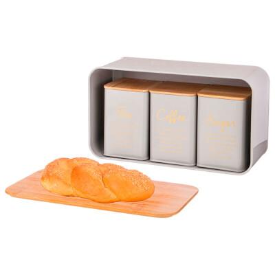 Набор хлебница 34*18*12,5см 2 в 1 Agness   +банка для сыпучих 10*10*14см 3шт 790-263