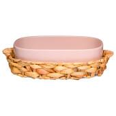 Блюдо 1.2 л для запекания 29, 5*20*8 см в плетеной корзине бронко фьюжин пудровое 263-1157
