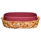 Блюдо 1.2 л для запекания 29, 5*20*8 см в плетеной корзине бронко фьюжин брусничное 263-1158