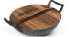 Вок 30см спиэ & джексон чугунный деревянная крышка sj-ci104